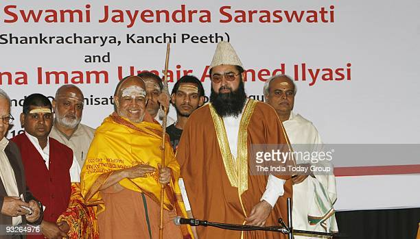 Shankaracharya Swami Jayendra Saraswati and Maulana Umair A llyasi president of All India Imams Organization during a conference organized by them on...