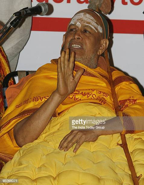 Shankaracharya Swami Jayendra Saraswati during a conference on global warming and nuclear disarmament in New Delhi on Thursday November 19 2009