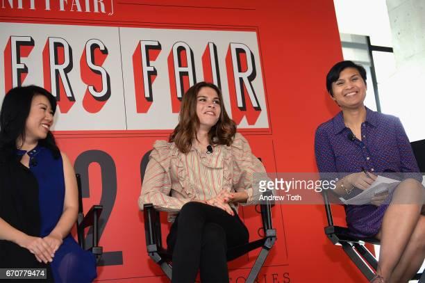 Shan-Lyn Ma, Emily Weiss, and Stephanie Mehta speak onstage during Vanity Fair's Founders Fair at the 1 Hotel Brooklyn Bridge on April 20, 2017 in...