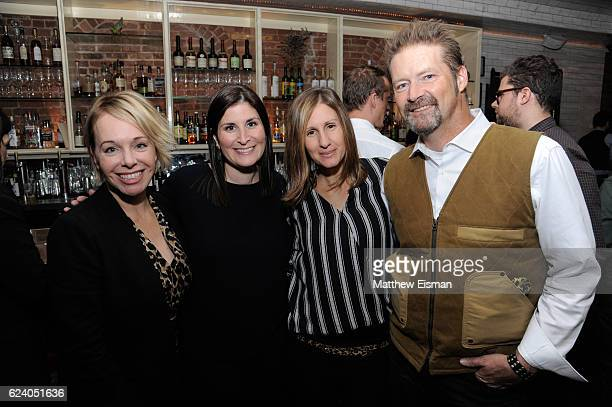 """Shanna Belott, Lara Stolman, Leah Warshawski and Todd Soliday pose together for a photo at the afterparty for for New York premiere of """"Swim Team"""" at..."""