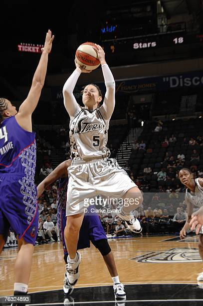 Shanna Crossley of the San Antonio Silver Stars shoots against the Sacramento Monarchs in Game Two of the Western Conference Semifinals during the...