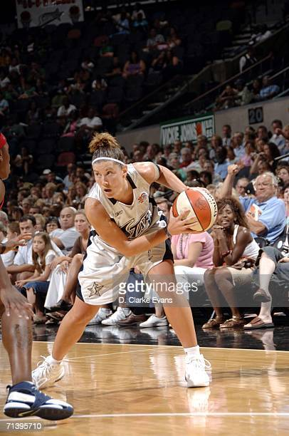 Shanna Zolman of the San Antonio Silver Stars during the game against the Houston Comets during the game at the ATT Center on July 7 2006 in San...