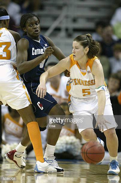Shanna Zolman of the Tennessee Lady Vols dribbles against the defense of Barbara Turner of the University of Connecticut Huskies during the National...