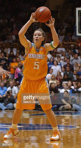 Shanna Zolman of the Tennessee Lady Vols looks to pass the ball against the Duke Blue Devils during the game on January 24 2004 at Cameron Indoor...