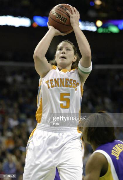 Shanna Zolman of the Tennessee Lady Vols shoots over the defense of of the Louisiana State University Lady Tigers during the semifinal game of the...