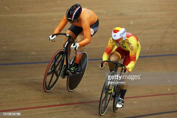 Shanne Braspennincx of Netherlands and Barbero Tania Calvo of Spain compete in the Sprint Women 1/8 final on Day 3 of the European Championships...