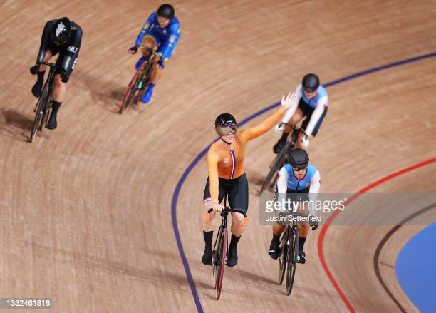 Shanne Braspennincx of Team Netherlands reacts to winning a gold medal during the Women's Keirin final, 1/6th place of the track cycling on day...