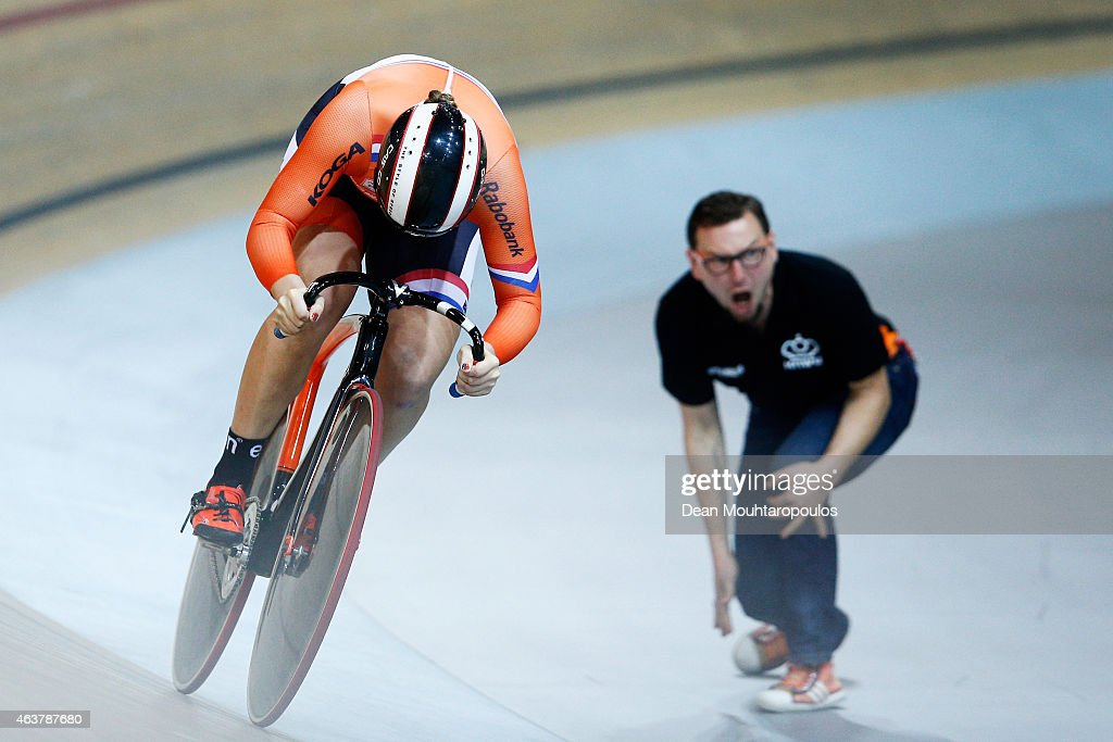 Shanne Braspennincx of the Netherlands Cycling Team competes in the Women's Team Sprint qualifying round as her coach yells during day 1 of the UCI Track Cycling World Championships held at National Velodrome on February 18, 2015 in Paris, France.