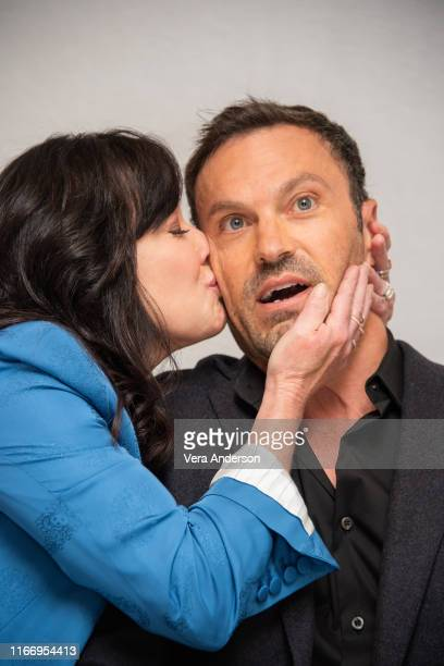 Shannen Doherty and Brian Austin Green at the BH90210 Press Conference at the Four Seasons Hotel on August 08 2019 in Beverly Hills California