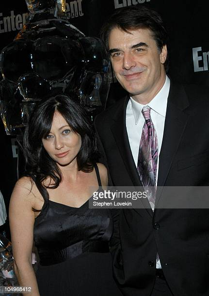 Shannen Doherty and Chris Noth during Entertainment Weekly Hosts 10th Annual Viewing Party at Elaine's in New York City New York United States