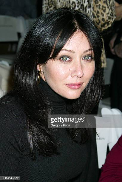 Shannen Doherty during Olympus Fashion Week Fall 2005 Joseph Abboud Backstage and Front Row at Bryant Park Tents in New York City New York United...