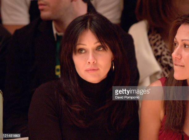 Shannen Doherty during Olympus Fashion Week Fall 2005 Joseph Abboud Front Row and Backstage at Bryant Park in New York City New York United States