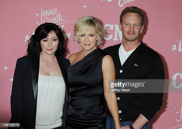 Shannen Doherty Jennie Garth and Ian Ziering arrive at her 40th Birthday celebration premiere party for 'Jennie Garth A Little Bit Country' held at...