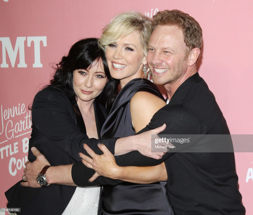 Shannen Doherty, Jennie Garth and Ian Ziering arrive at Jennie Garth's 40th Birthday celebration & premiere party for 'Jennie Garth: A Little Bit Country' held at The London Hotel on April 19, 2012 in West Hollywood, California.