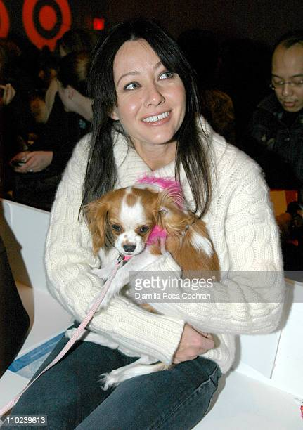 Shannen Doherty with Pinky during Olympus Fashion Week Fall 2005 Target Doggie Fashion Show Front Row at Bryant Park in New York City New York United...