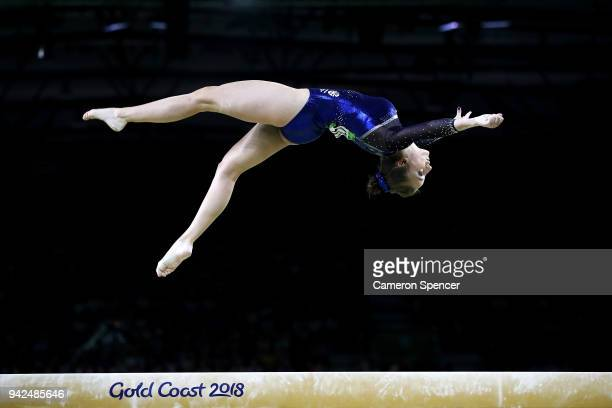 Shannon Archer of Scotland competes in the beam during the Gymnastics Artistic Women's Team Final and Individual Qualification on day two of the Gold...