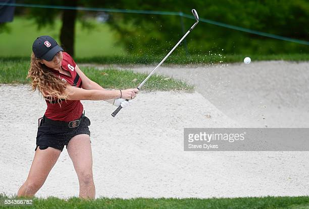 Shannon Aubert of Stanford hits out of a bunker during the final round of the 2016 NCAA Division I Women's Golf Championship against Washington at...