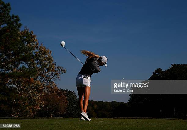 Shannon Aubert of Stanford tees off the 18th hole during day 1 of the 2016 East Lake Cup at East Lake Golf Club on October 31 2016 in Atlanta Georgia