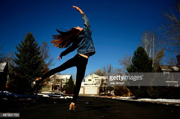 Shannon Axe out side to get full extension for her spins and leaps she will be using in a play she part of at Boulder high school November 11 2015...
