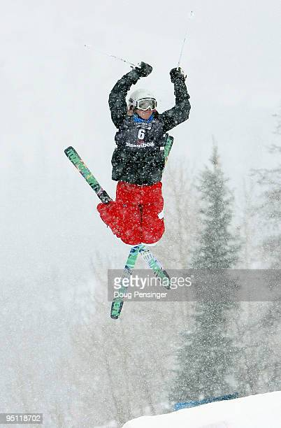 Shannon Bahrke does an aerial off the first kicker in heavy snow during her second run in the Freestyle Mogul US Olympic Trials on December 23 2009...