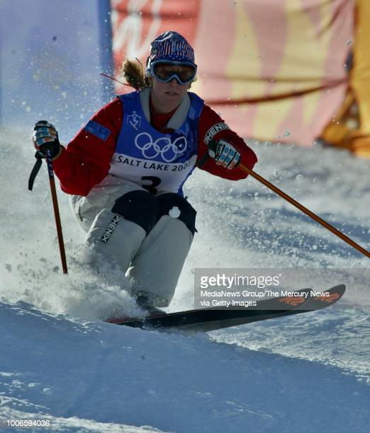 Shannon Bahrke, of the US, takes her run in the finals of the Women's Moguls of the 2002 Winter Olympics at Deer Valley resort in Park City, Utah....