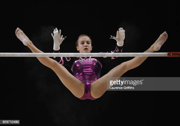 Shannon Baker of The Meapa performs on the Uneven Bars during The Women's Junior AllAround Subdivision 1 Round during the Gymnastics British...