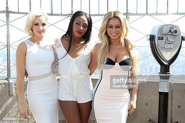 Shannon Bex Dawn Richard and Aubrey O'Day of band Danity Kane visit the Empire State Building to celebrate the release of their new single Lemondade...