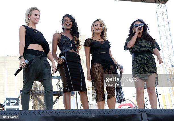 Shannon Bex Dawn Richards Aubrey O'Day and Andrea Fimbres of Danity Kane perform onstage during the iHeartRadio Music Festival Village on September...