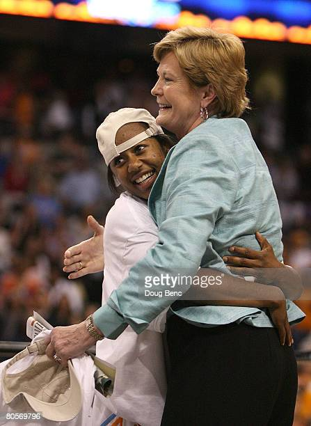 Shannon Bobbitt and head coach Pat Summitt of the Tennessee Lady Volunteers celebrate their 6448 win against the Stanford Cardinal during the...