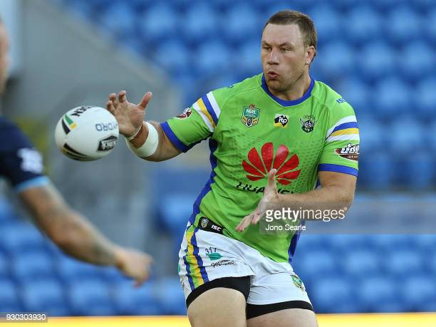 Shannon Boyd of the Raiders catches the ball during the round one NRL match between the Gold Coast Titans and the Canberra Raiders at Cbus Super...