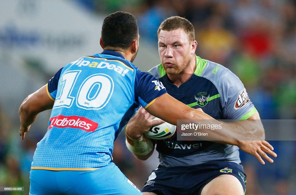 Shannon Boyd of the Raiders in action during the round six NRL match between the Gold Coast Titans and the Canberra Raiders at Cbus Super Stadium on April 8, 2017 in Gold Coast, Australia.
