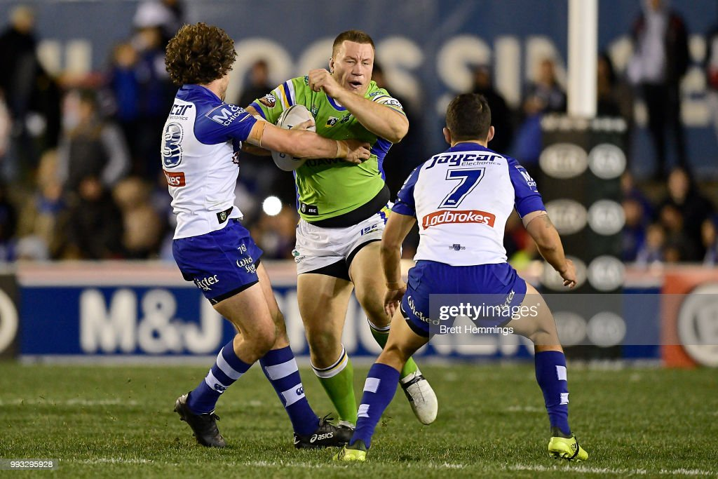 Shannon Boyd of the Raiders is tackled during the round 17 NRL match between the Canterbury Bulldogs and the Canberra Raiders at Belmore Sports Ground on July 7, 2018 in Sydney, Australia.