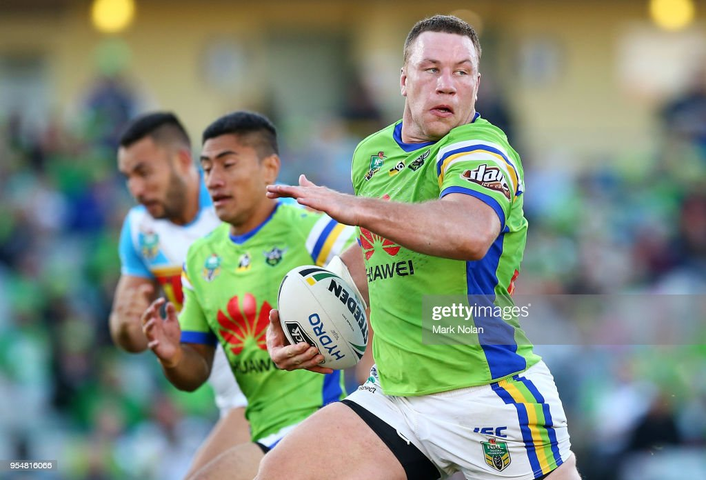 Shannon Boyd of the Raiders makes a line break during the round nine NRL match between the Canberra Raiders and the Gold Coast Titans at GIO Stadium on May 5, 2018 in Canberra, Australia.