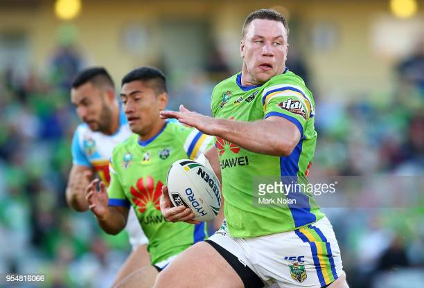 Shannon Boyd of the Raiders makes a line break during the round nine NRL match between the Canberra Raiders and the Gold Coast Titans at GIO Stadium...