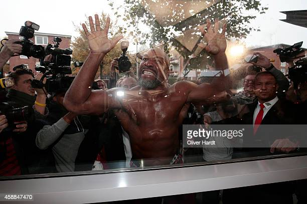 Shannon Briggs gestures during the official Public Training Session ahead of the IBF WBA WBO and IBO World Championship fight between Wladimir...