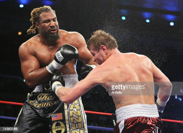 Shannon Briggs punches Sultan Ibragimov during their WBO Heavyweight Championship fight at Boardwalk Hall June 2 2007 in Atlantic City New Jersey...