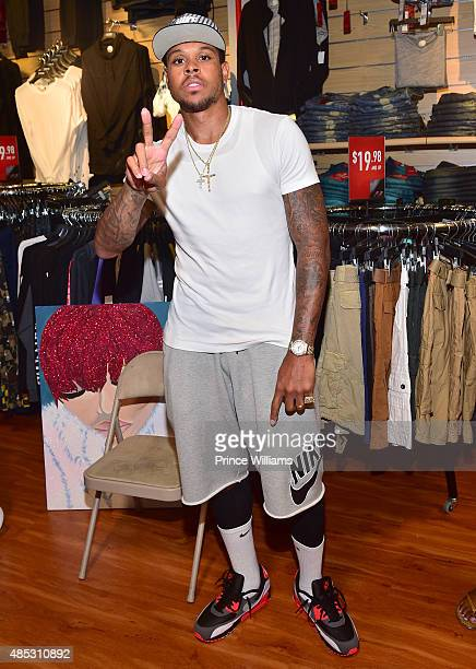 Shannon Brown attends Monica's meet and greet showcasing her new single 'Just Right for Me' at DTLR at Cramp Creek on August 26 2015 in Atlanta...