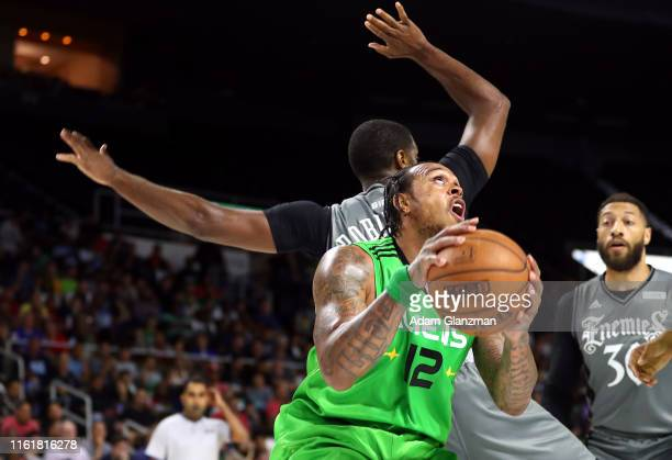 Shannon Brown of the Aliens handles the ball against the Enemies during week four of the BIG3 three on three basketball league at Dunkin' Donuts...