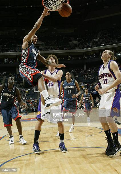 Shannon Brown of the Charlotte Bobcats dunks against the Phoenix Suns on January 23 2009 at the Time Warner Cable Arena in Charlotte North Carolina...