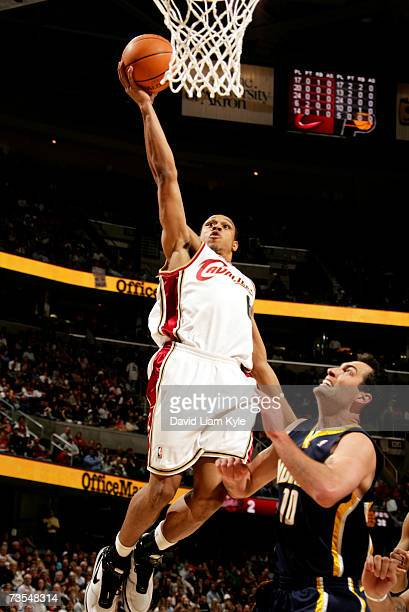 Shannon Brown of the Cleveland Cavaliers takes it to the hoop on a fast break play against Jeff Foster of the Indiana Pacers March 11, 2007 at The...