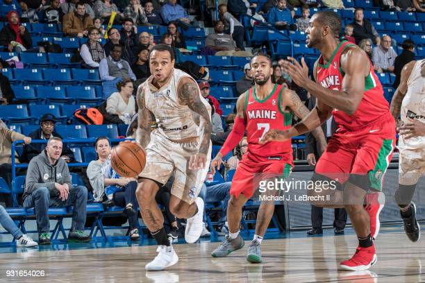 Shannon Brown of the Delaware 87ers handles the ball against the Maine Red Claws during a GLeague game on March 13 2018 at the Bob Carpenter Center...
