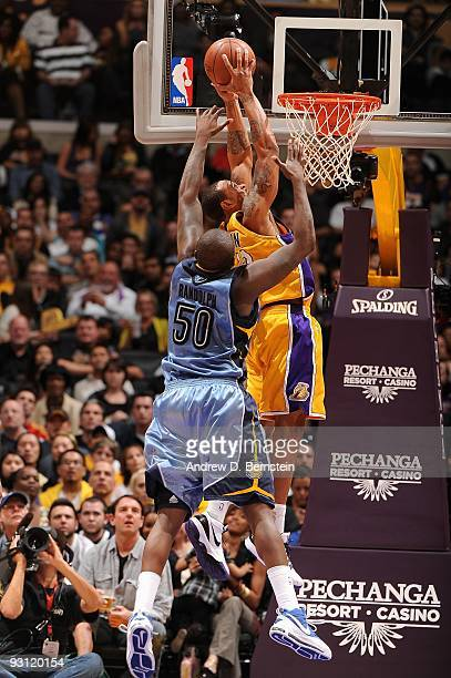 Shannon Brown of the Los Angeles Lakers goes for the dunk against Zach Randolph of the Memphis Grizzlies during the game on November 6 2009 at...
