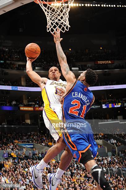 Shannon Brown of the Los Angeles Lakers goes up for a shot against Wilson Chandler of the New York Knicks at Staples Center on January 9 2011 in Los...