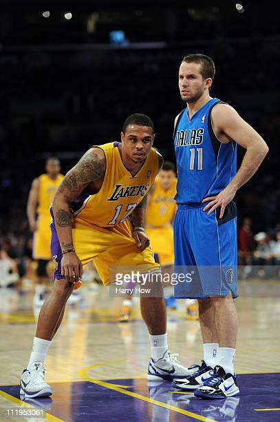 Shannon Brown of the Los Angeles Lakers guards Jose Barea of the Dallas Mavericks at Staples Center on March 31, 2011 in Los Angeles, California....