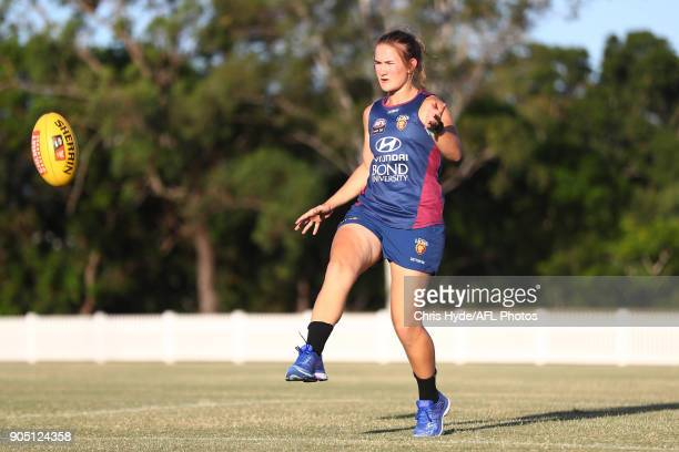 Shannon Campbell kicks during a Brisbane Lions AFL training session at Leyshon Park on January 15 2018 in Brisbane Australia