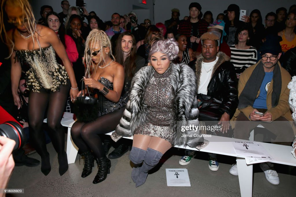 Shannon Clermont, Shannade Clermont, and Lil Kim attend The Blonds front row during New York Fashion Week: The Shows at Gallery I at Spring Studios on February 13, 2018 in New York City.