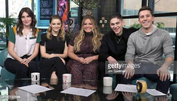 Shannon Coffey actress Josephine Langford author Anna Todd actor Hero FiennesTiffin and Lukas Thimm attend the Build Brunch at Build Studio on April...
