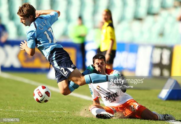 Shannon Cole of Sydney competes with Milan Susak of the Roar during the round 18 ALeague match between Sydney FC and the Brisbane Roar at Sydney...