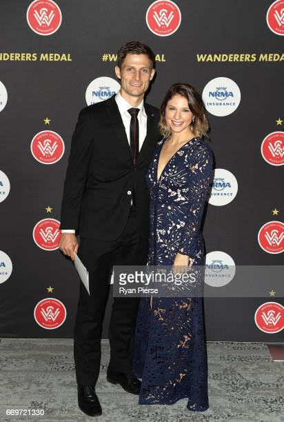 Shannon Cole of the Wanderers and his wife Jacqueline Cole arrive ahead of the Western Sydney Wanderers Medal Night at the International Convention...