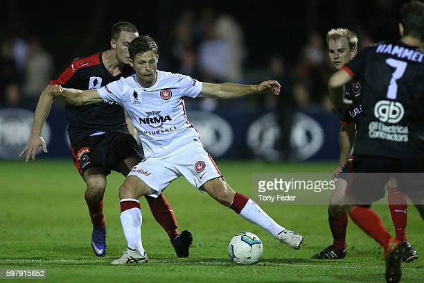 Shannon Cole of the Wanderers controls the ball during the FFA Cup ROUnd of 16 match between Edgeworth FC and the Western Sydney Wanderers at Magic...